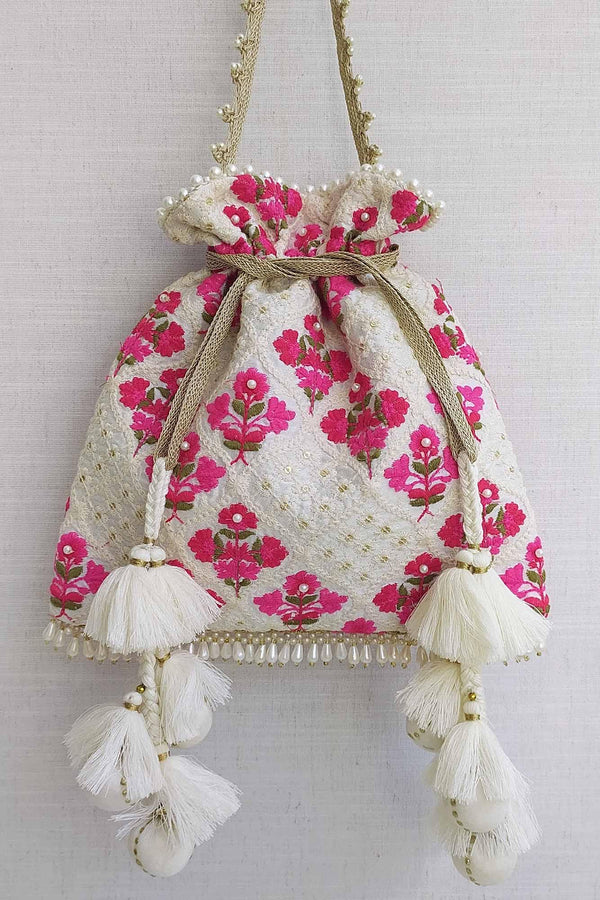 Gulab Embroidered Silk Potli bag - AMYRA