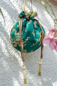Teal embroidered silk potli