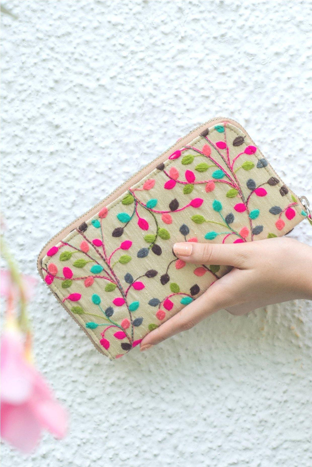 Pastel and pop embroidered wallet