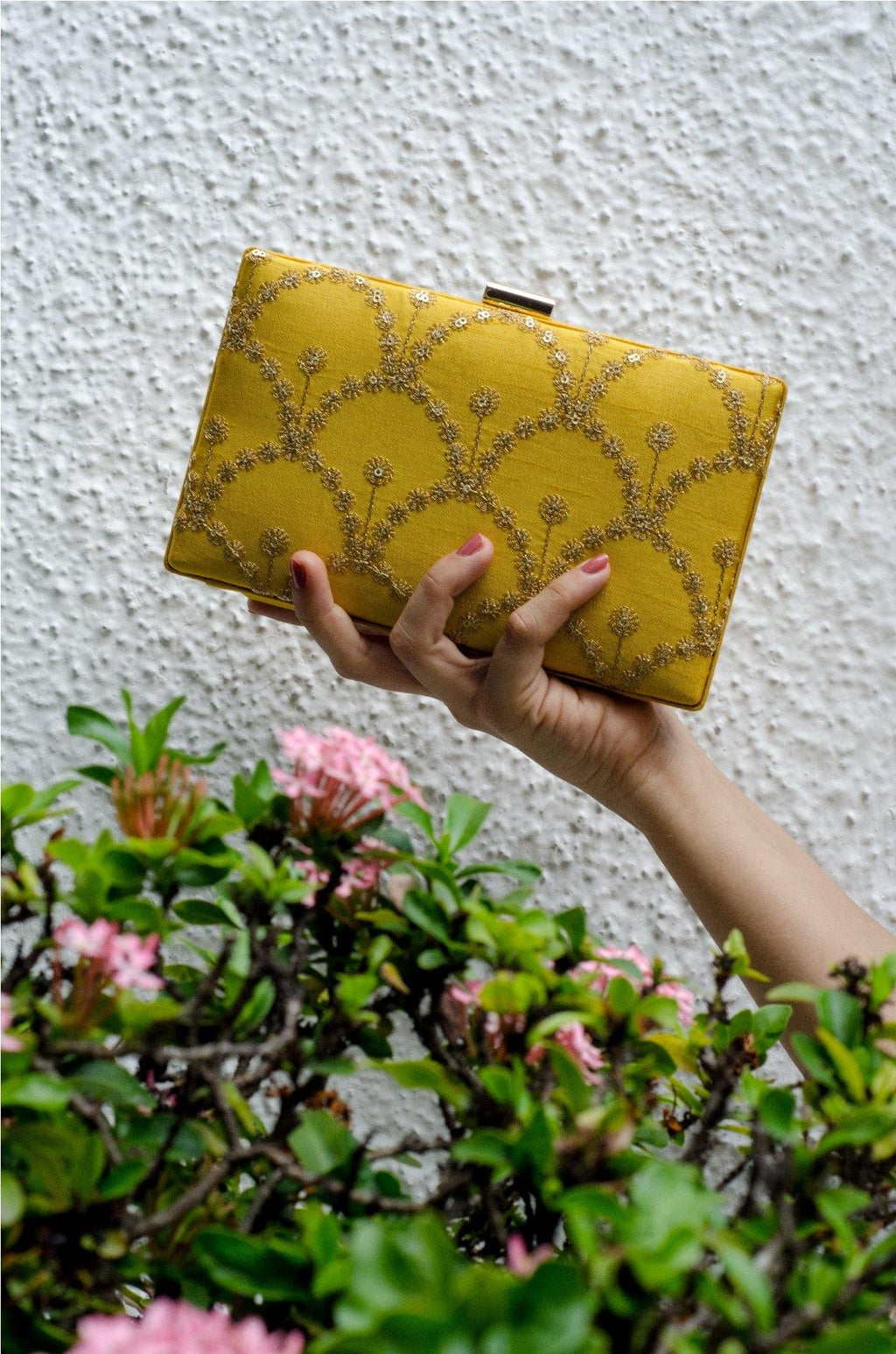 Yellow embroidered box clutch