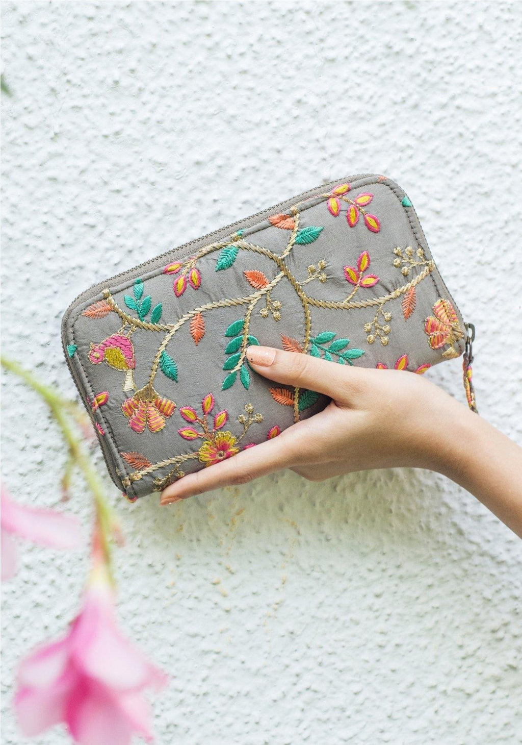 Grey embroidered silk wallet