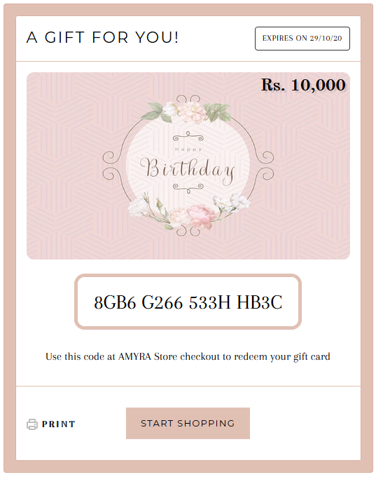 Birthday - Gift Card - AMYRA