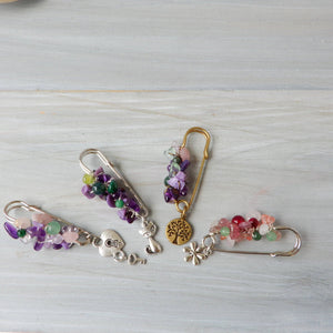 Accessory - Pink, Purple And Green Stone Studded Scarf Sweater Coat Brooch
