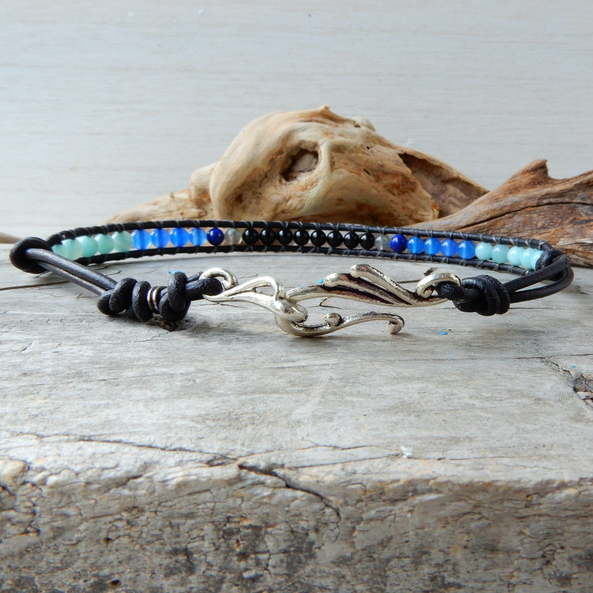 Anklet - Blue And Black Leather Wrap Anklet