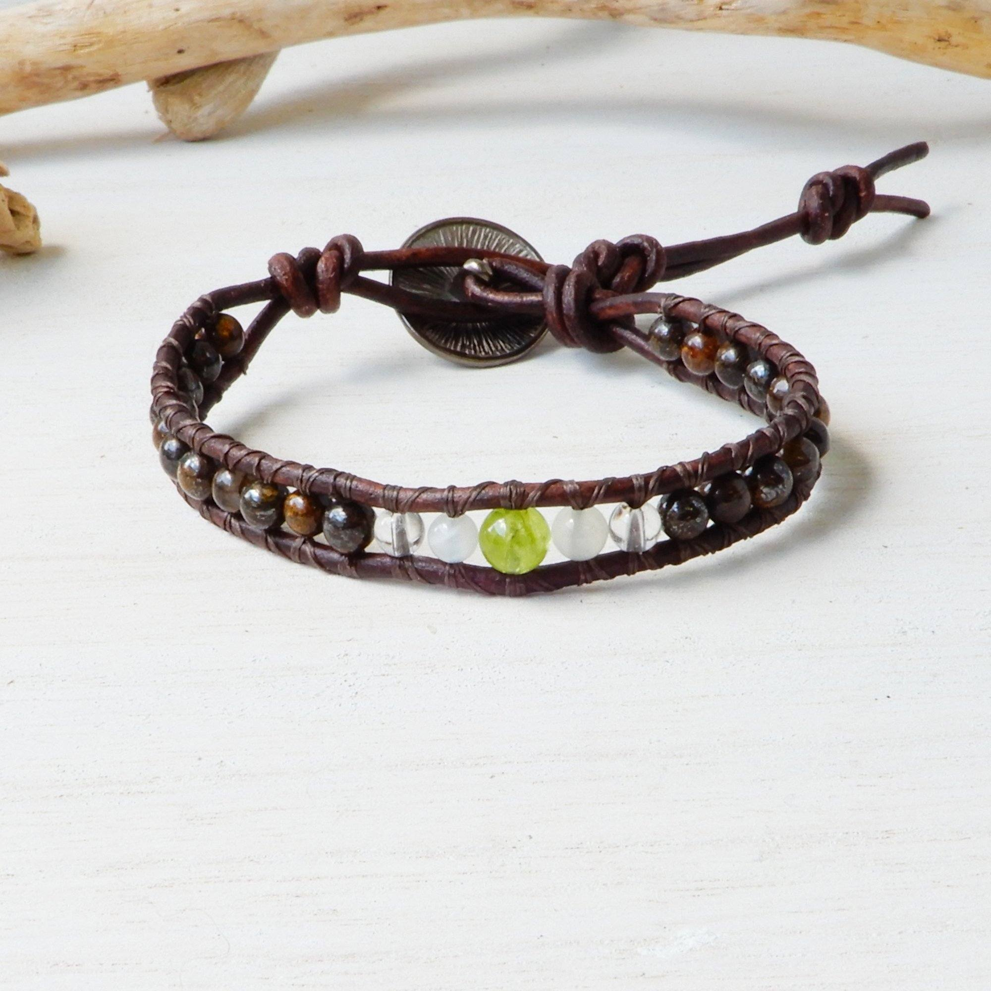Bracelet - Birthstone Leather Wrap Bracelet | MY HEART