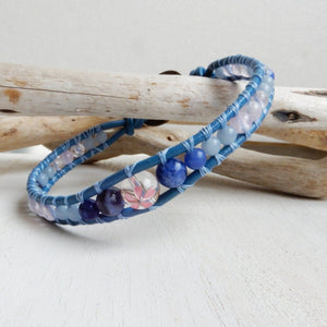 Bracelet - Blue Cherry Blossom Floral Leather Wrap Bracelet With A Japanese Sakura Crystal