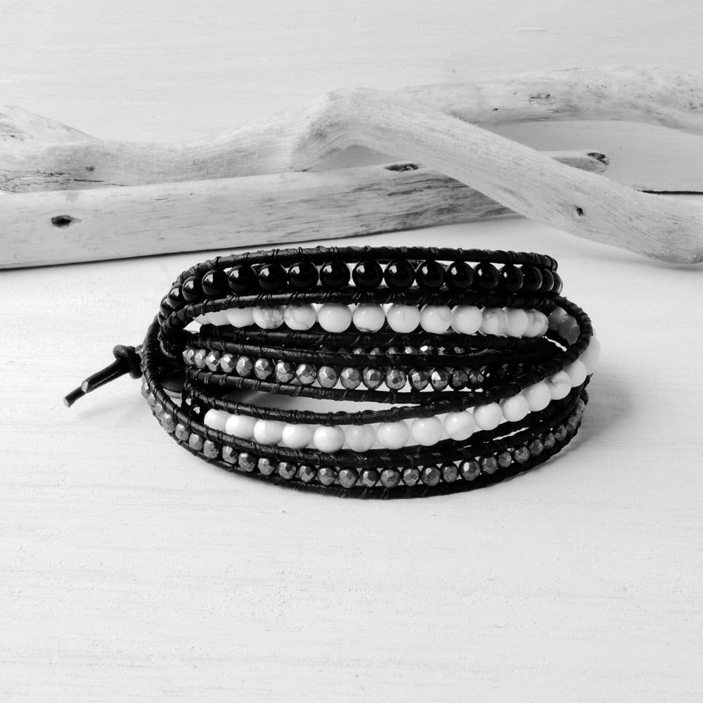 Black White And Gold Woman's Leather Wrap Layer Bracelet