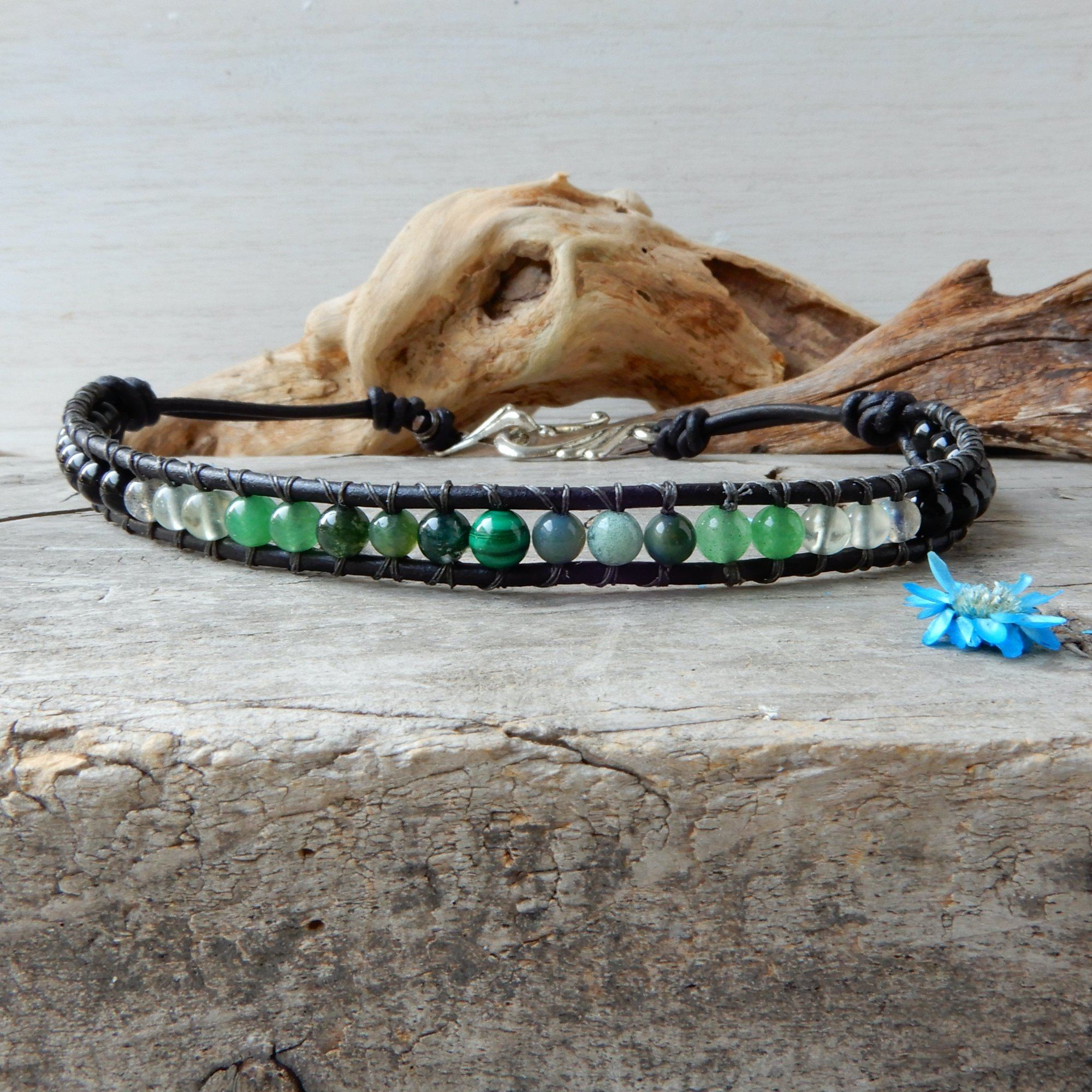 Bracelet - Green And Black Leather Wrap Anklet