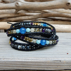 Bracelet - Leather And Stone Wrap Bracelet For Her | Hope