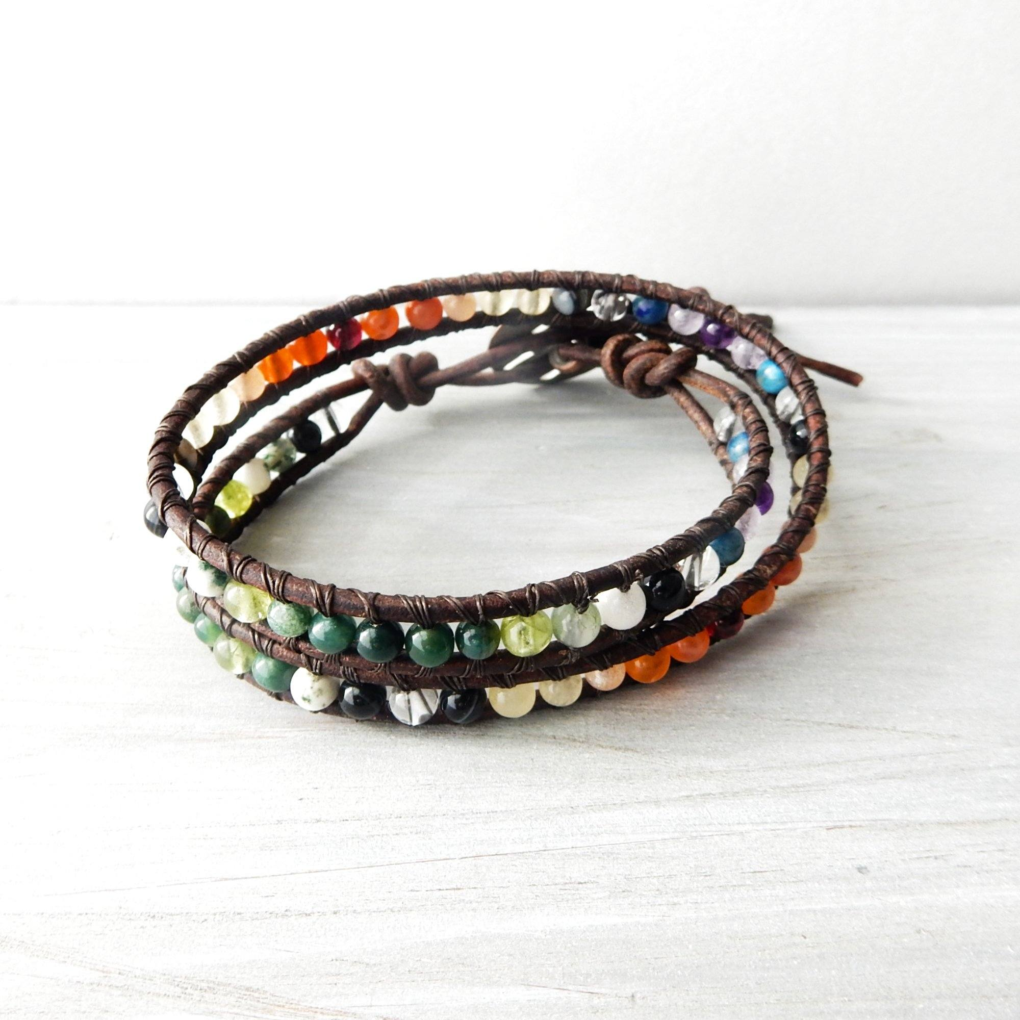 Bracelet - Leather Wrap Bracelet | Bamboo Rainbow