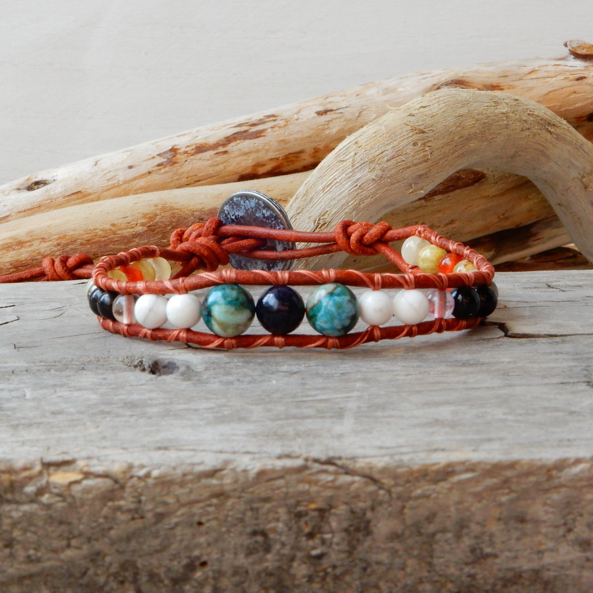 Bracelet - Opal And Sapphire Natural Stone Bracelet | Moment Of Peace
