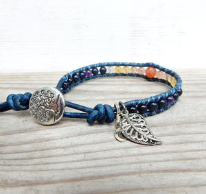 Bracelet - Women's Leather Wrap Healing Stone Bracelet | Ooh La La
