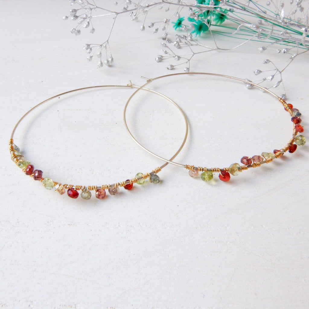 Earring - Large Minimalist Gemstone Hoop Earrings | Watermelon Tourmaline