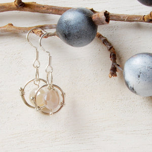 Earring - Moonstone And Silver Galaxy Mini Hoop Earrings