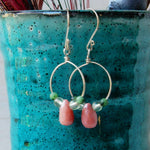 Earring - Pink, Green And Silver Hoop Earrings