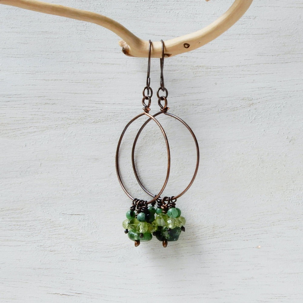 Earring - SUMMER GREEN | Copper Hoop Earrings