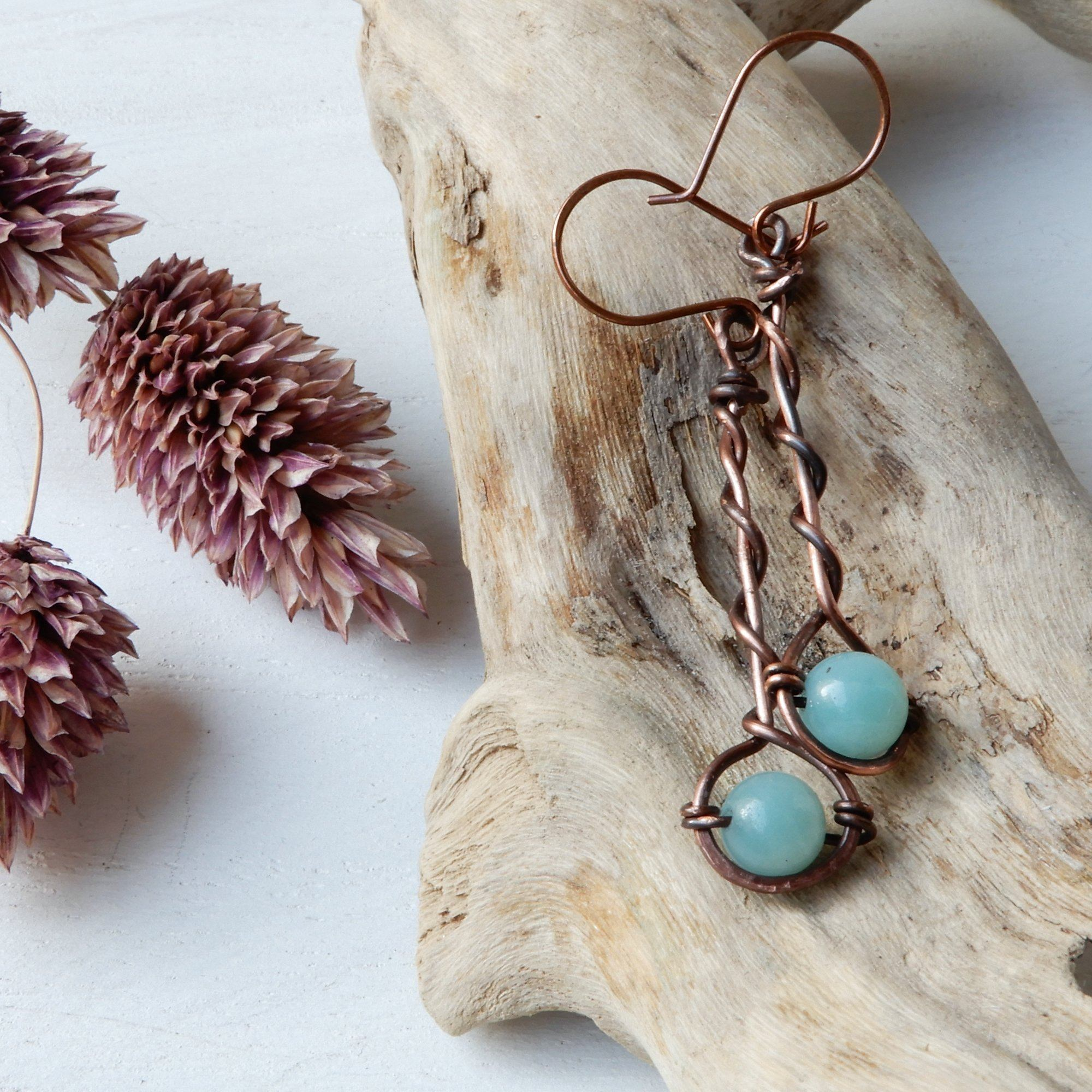 Earring - Twisted Bar Drop Earrings With Stone Accent