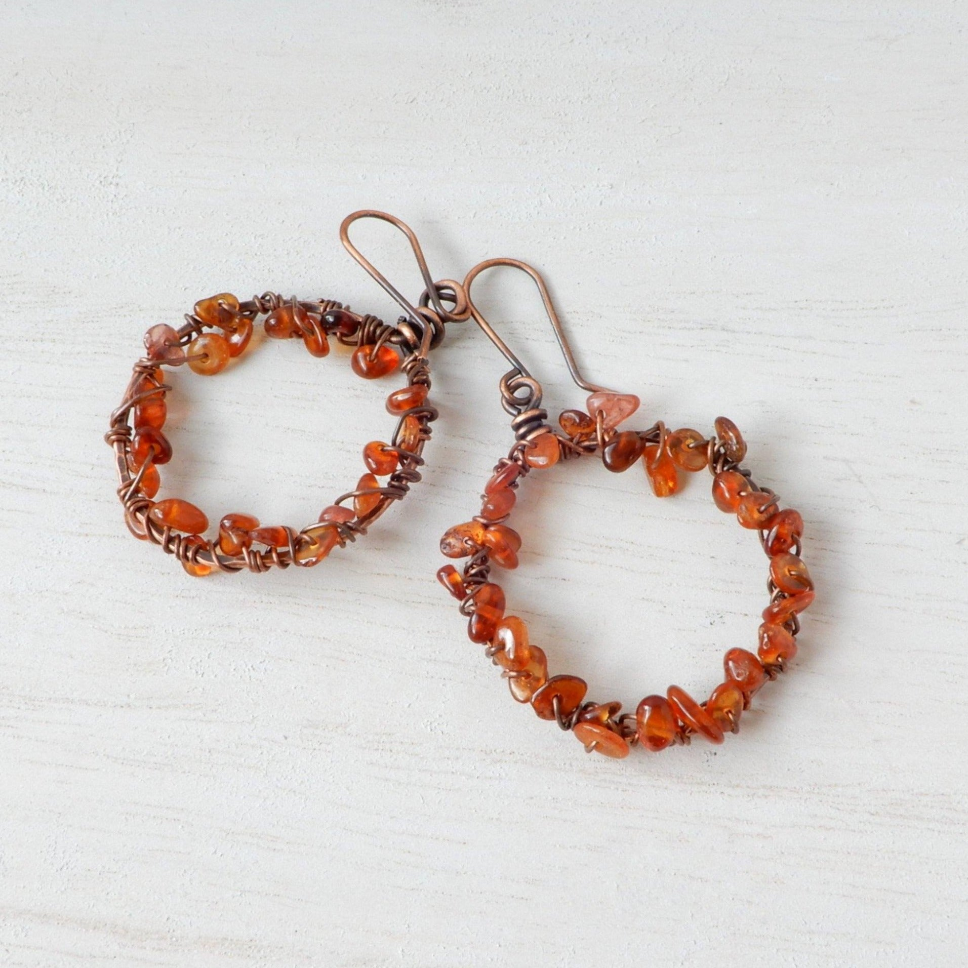 Earrings - Copper Hoop Orange Garnet Earrings: Sunburst