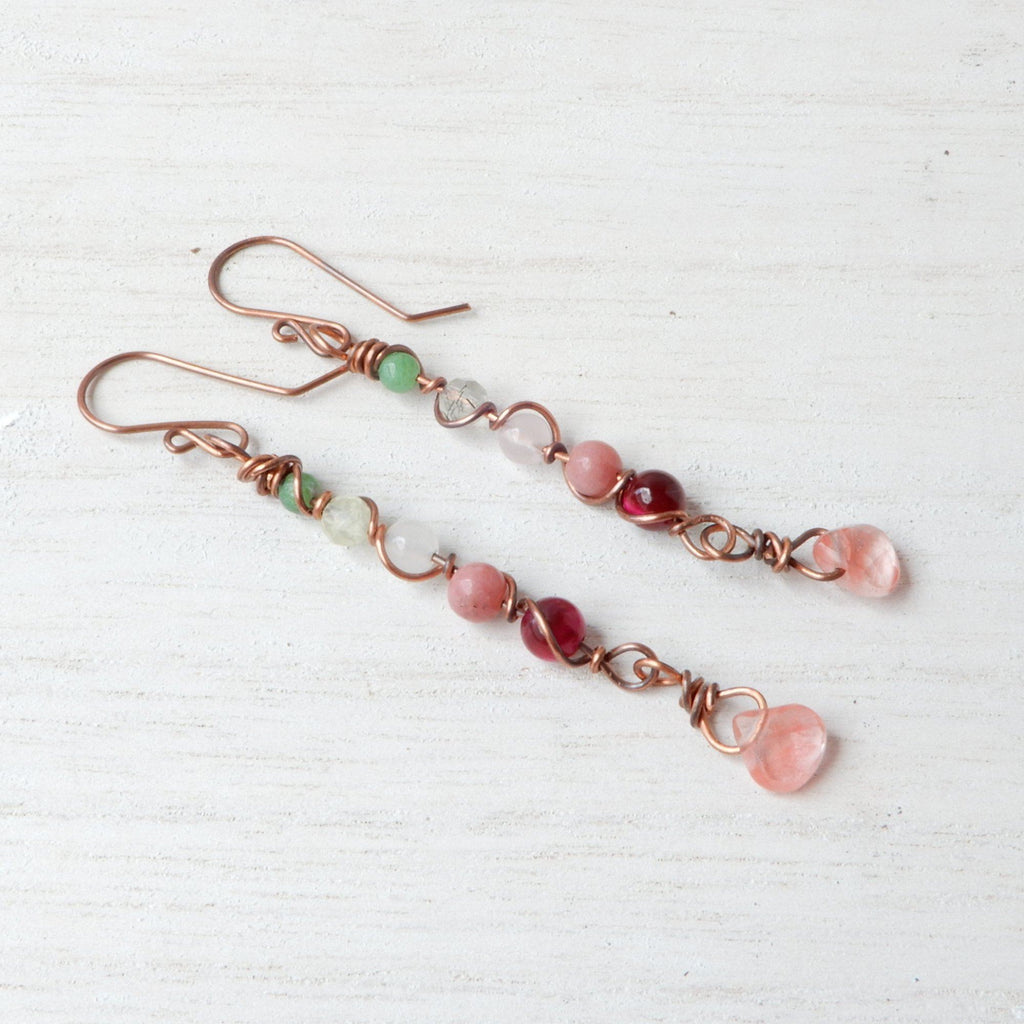 Earrings - Dangle Drop Earrings In Soft Spring Colors | Copper And Natural Stones