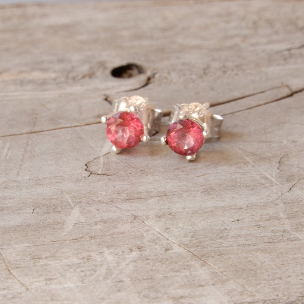 Earrings - Pink Topaz Gemstone And Silver Stud Earrings | 4mm