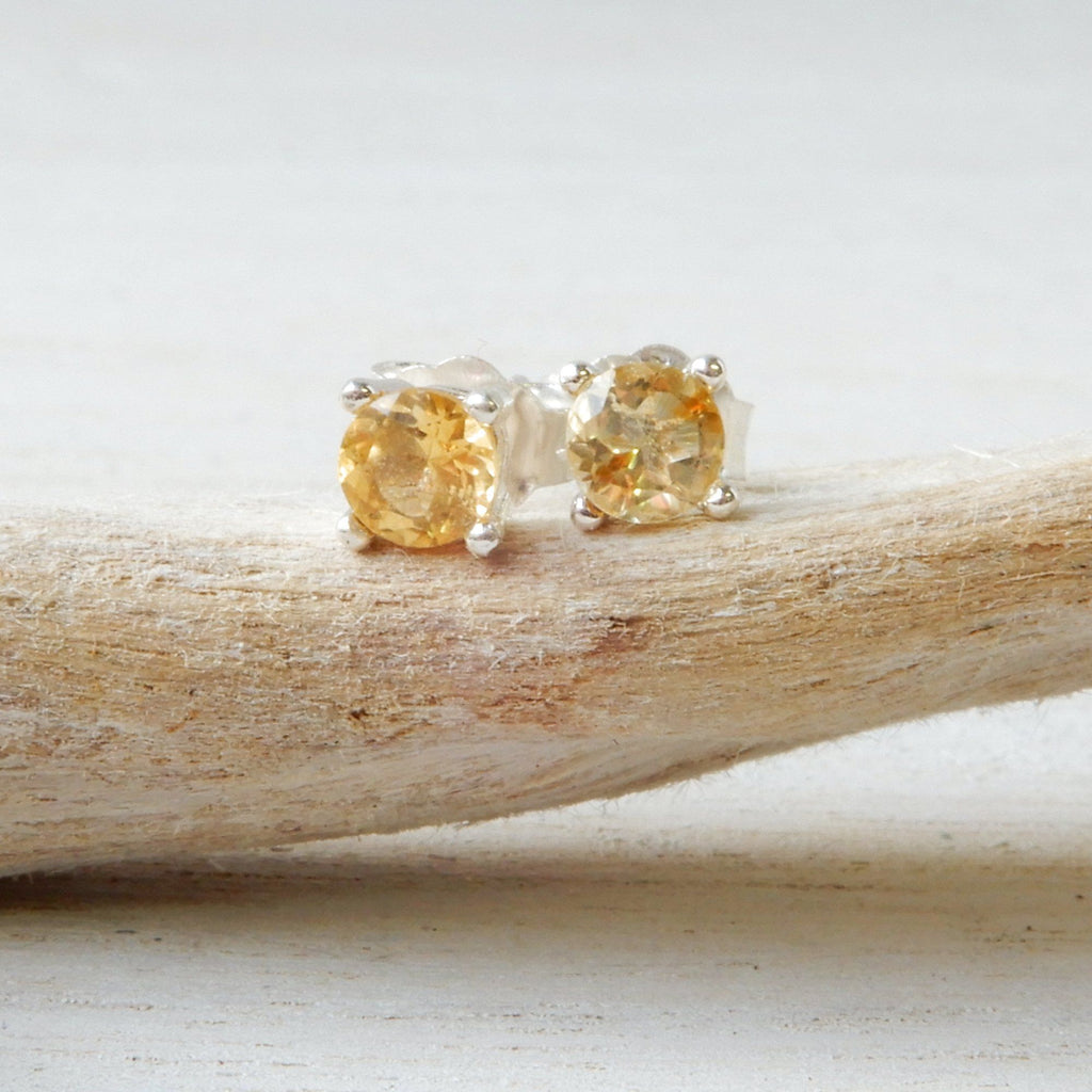 Faceted Yellow Citrine And Silver Gemstone Studs | 4mm