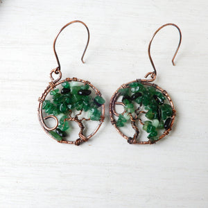 Green Artisan Tree Of Life Hoop Earrings