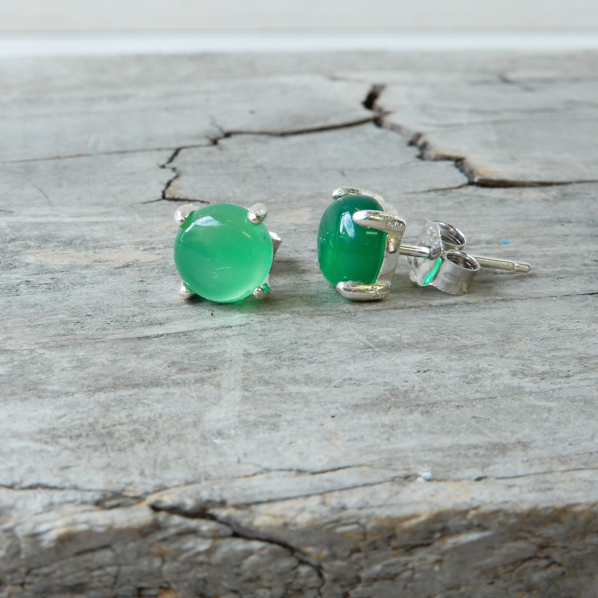 Green Onyx And Silver Gemstone Studs
