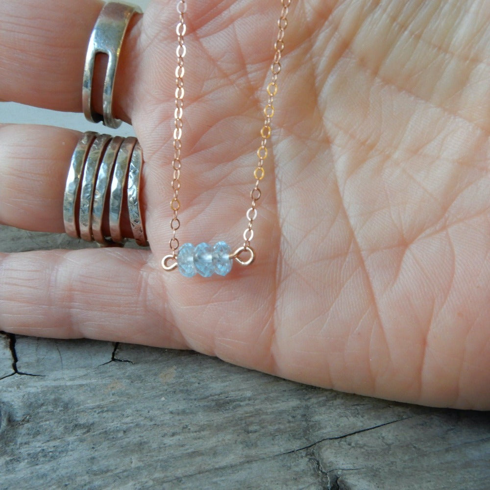 Necklace - Blue Topaz Gemstone Minimalist Necklace