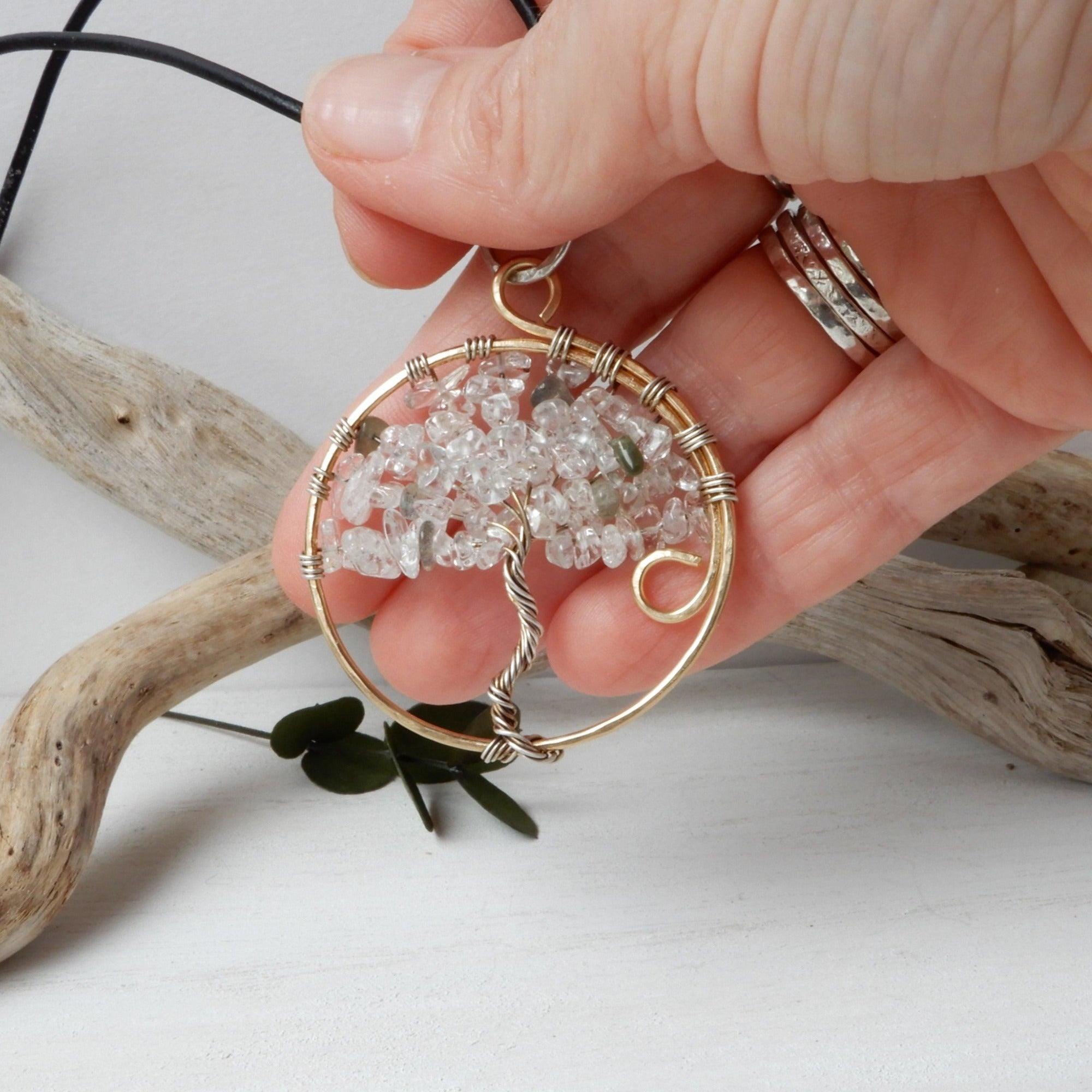 Necklace - Classic Tree Of Life Pendant In Mixed Metals And Gemstones - Necklace Pendant Gift For Nature Lover