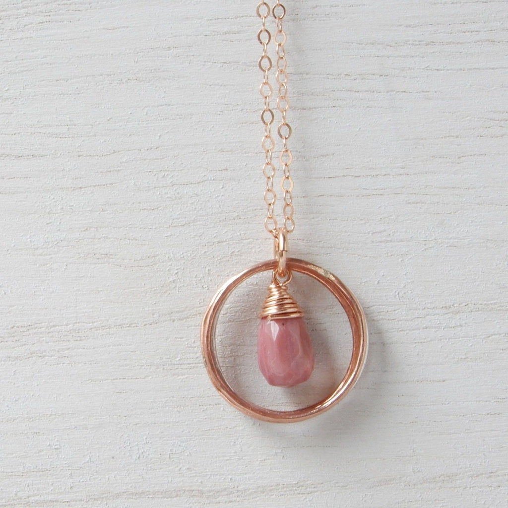 Necklace - Modern Classic Necklace In Mixed Metals With Pink Teardrop