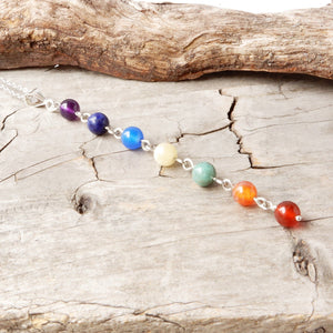 Necklace - Rainbow Seven Chakra Lariat Necklace
