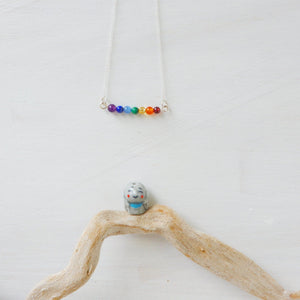 Necklace - Seven Stone Gemstone Chakra Rainbow Necklace