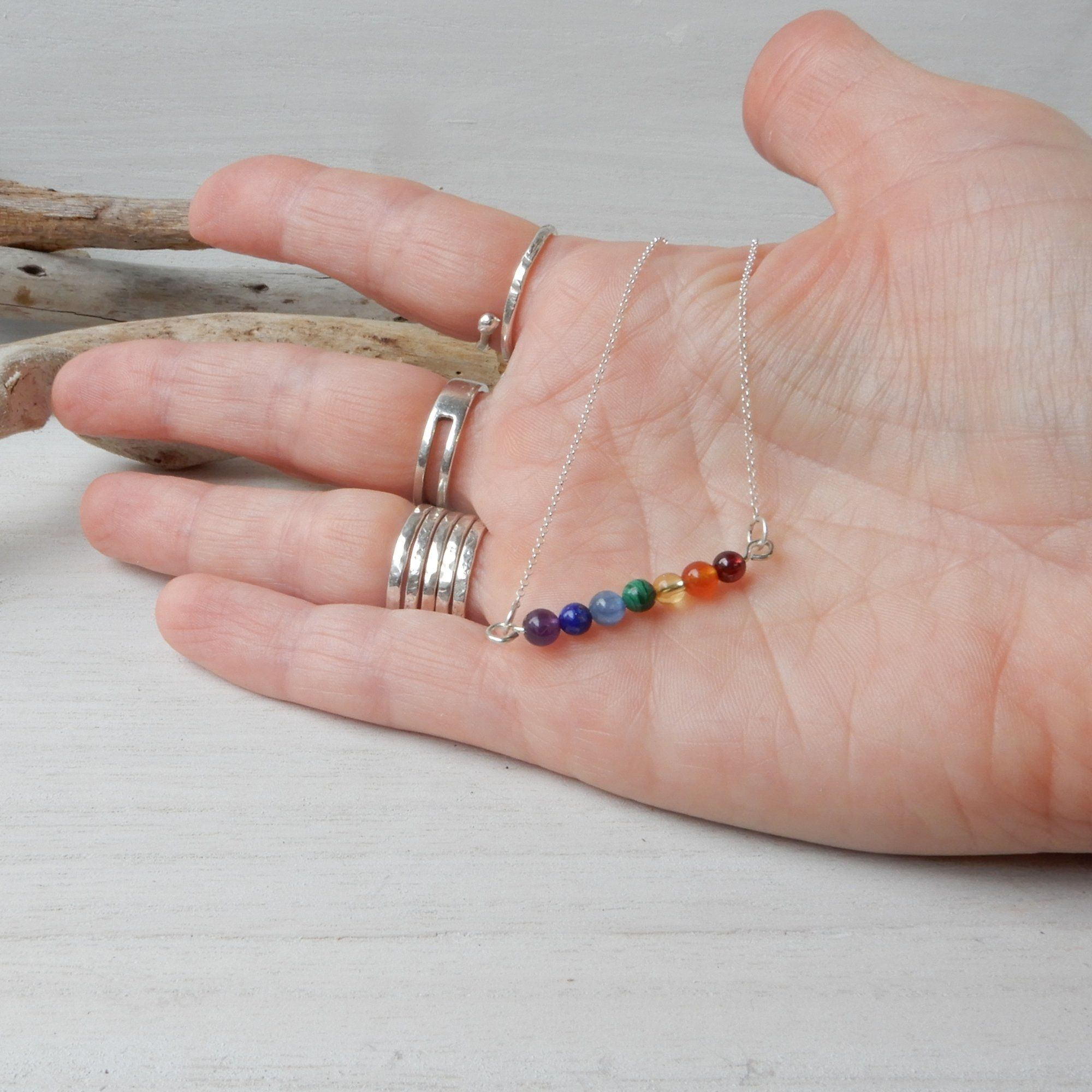 Seven Stone Gemstone Chakra Rainbow Short Bar Necklace in Silver
