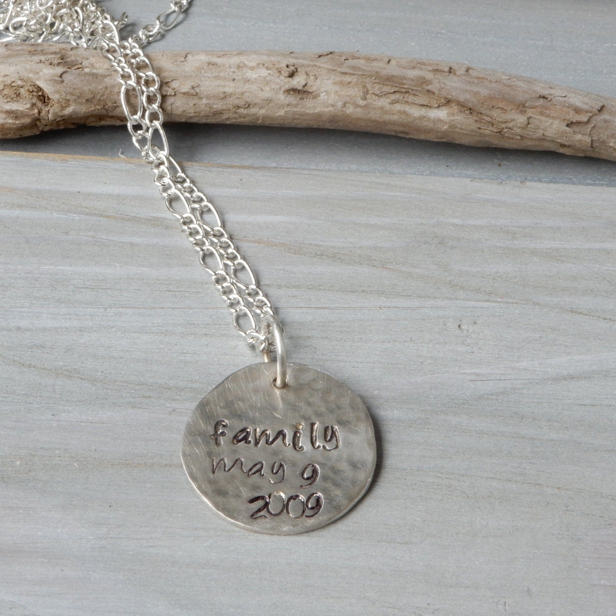 Pendant - Silver Hand Stamped Personalized Necklace Pendant