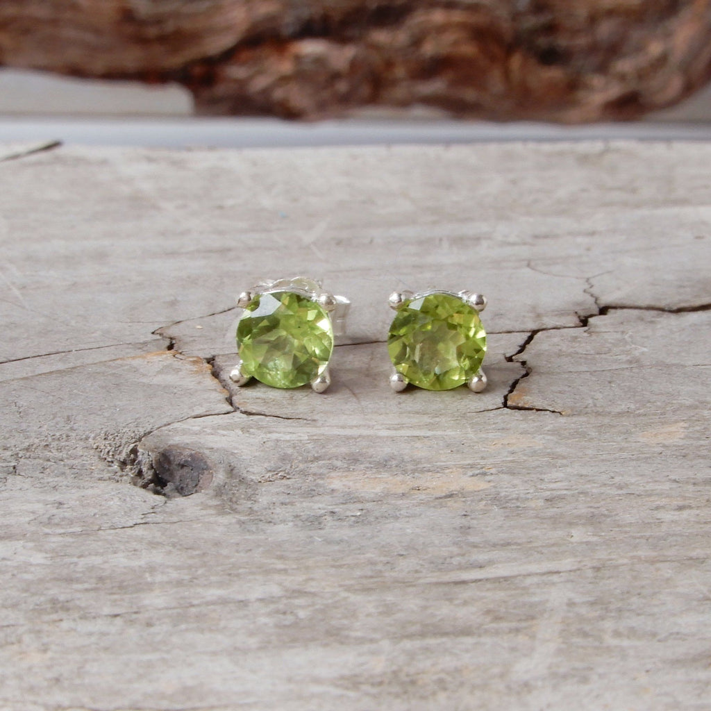 Peridot And Silver Gemstone Stud Earrings | 6mm
