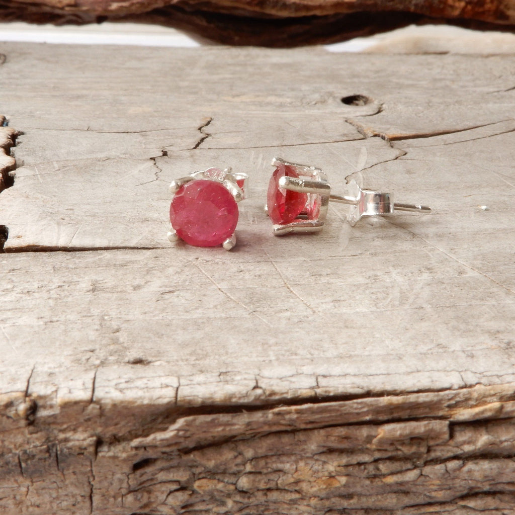 Ruby Gemstone Studs | 6mm
