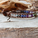 Seraphinite Gemstone Leather Wrap Bracelet | Balance And Endurance
