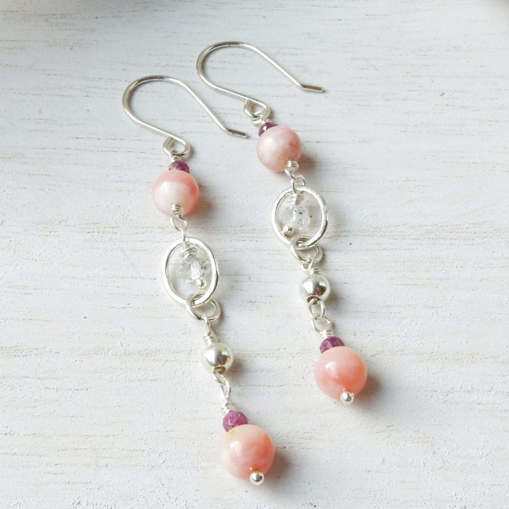 Silver Drop Earrings | Opal, Ruby And Crystal