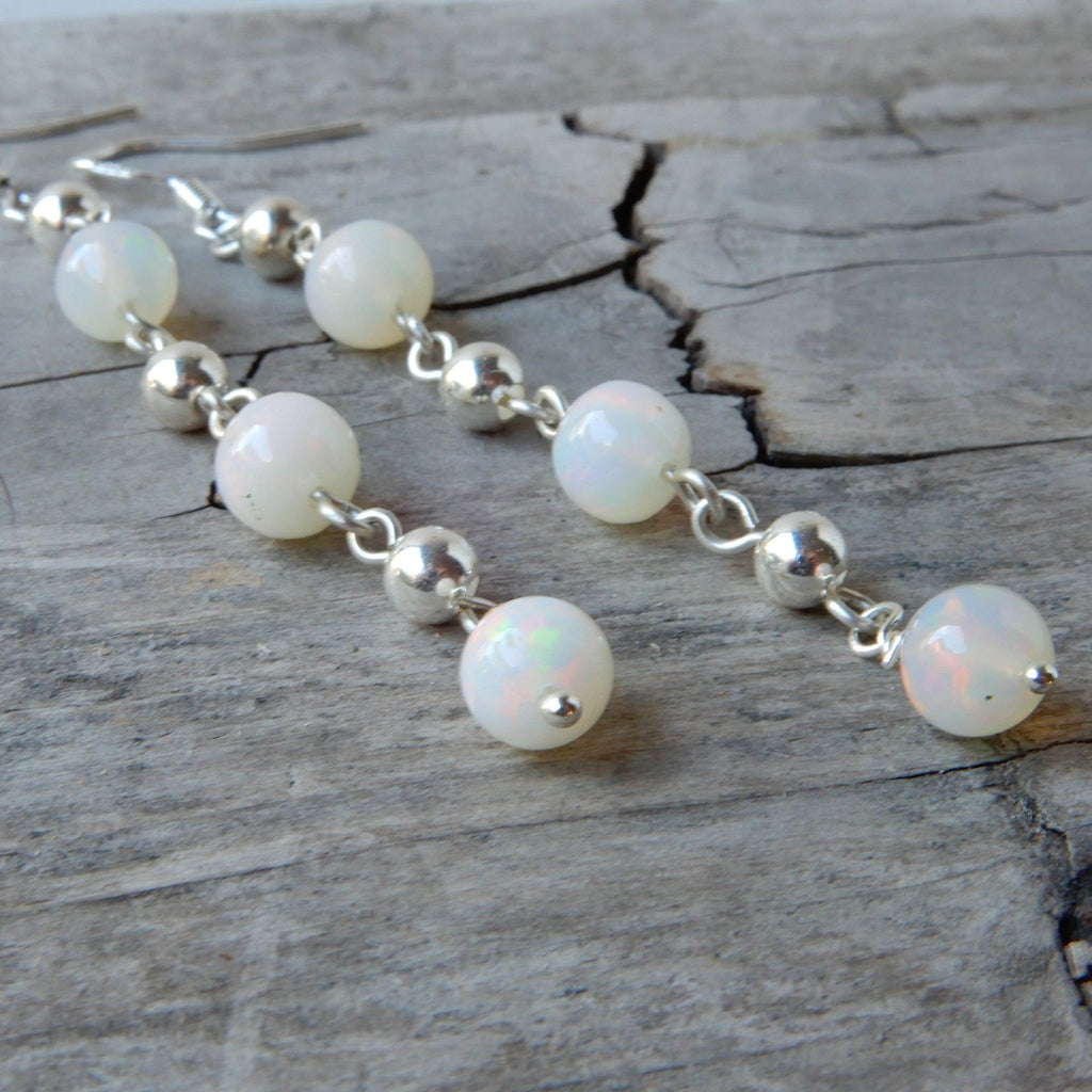 White Ethiopian Opal & Silver Dangle Earrings | October Birthstone Jewelry