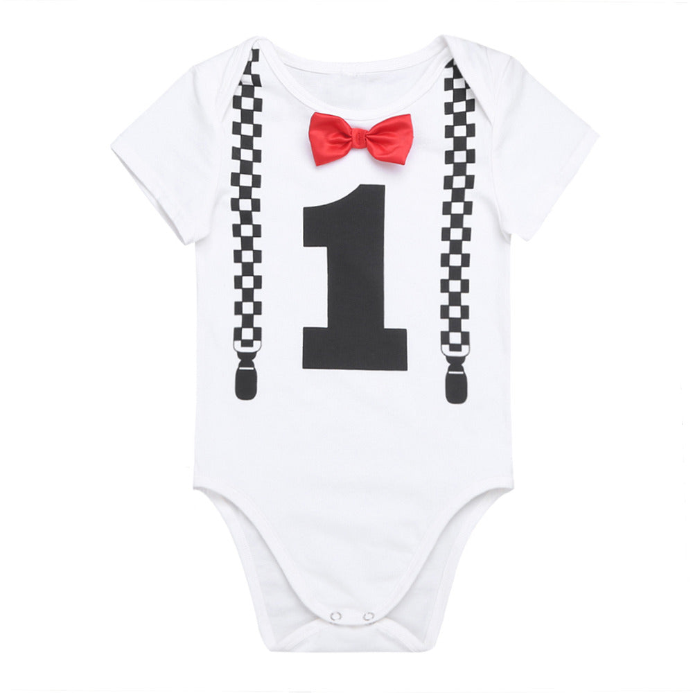 a0f505fa425e iEFiEL Infant Baby Boys Short Sleeves First Bowknot Birthday Party ...