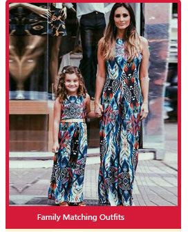 Mother And Daughter Matching Floral Print Summer Dresses Mom And