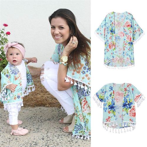 Family Matching Clothe Shirt Mother Daughter Outfits Mom Me Baby Girls  Flower Shawl Kimono - Mom d7c36819d536
