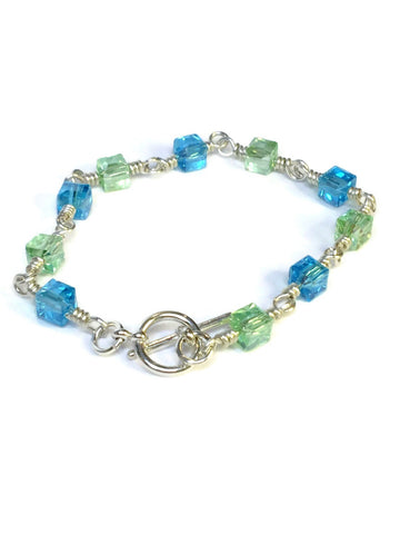 Blue & Green Crystal Chain Bracelet