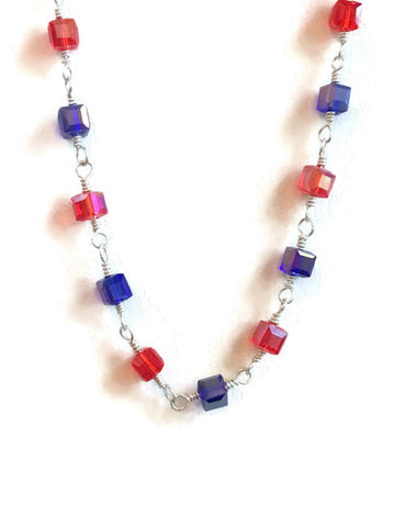 Red and Blue Sterling Rosary Chain Necklace | 4th of July Necklace