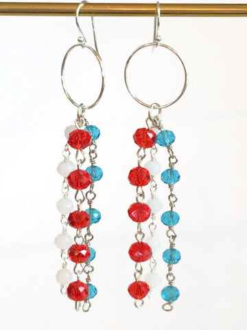 Patriotic Rosary Chain Earrings