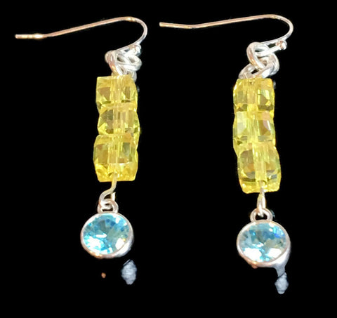 Aquamarine Gemstone Sterling Earrings | March Birthstone