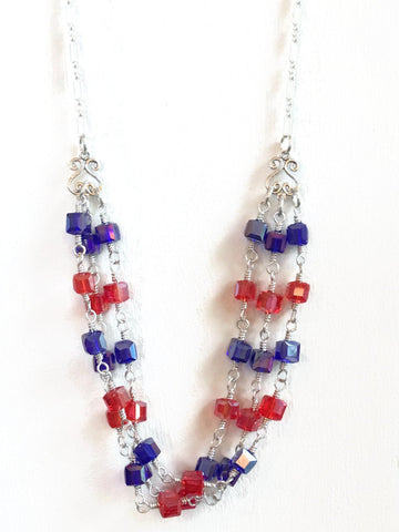 Red, White and Blue Patriotic 3 Strand Necklace | 4th of July