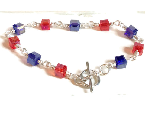Red and Blue Crystal Bracelet | 4th of July | Patriotic