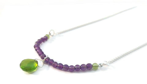 Amethyst and Peridot Sterling Necklace, OOAK, #Augustbirthday, #Februarybirthday