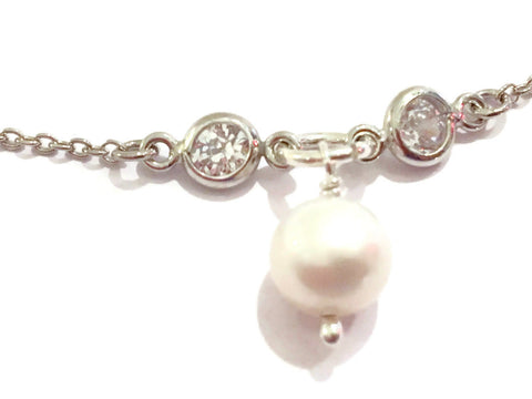 Antique Silver CZ  Pearl Drop Dainty Bracelet | June Birthday Gift